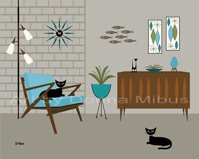 Donna Mibus Art Print Mid Century Modern Tabby Cat Buffet Fish Starburst Clock