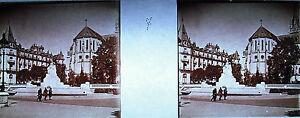 Stereoscopic Photography Square And Nef Church Saint-Martin Pau C 1920