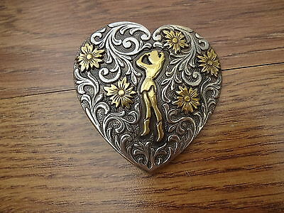 Vintage Western Cowgirl Heart Trophy Buckle Design 38mm 1 1//2 inch tandy DR5