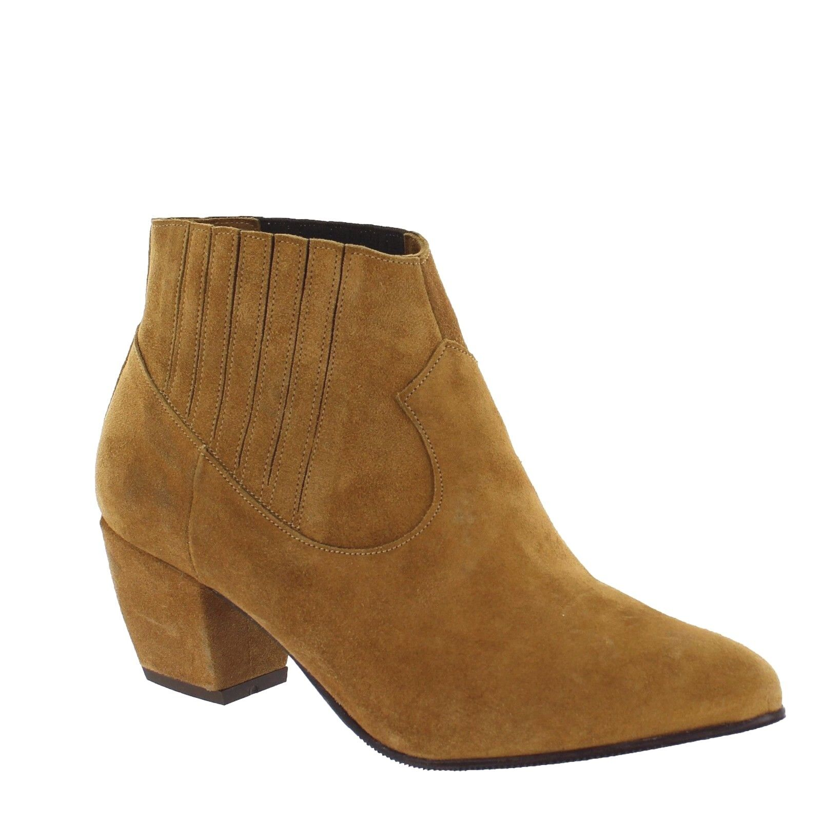 Marta Jonsson Womens UK 5 EU 38 Tan Suede Pull On Mid Heel Ankle Boots MJ2136