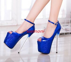 Women-039-s-super-high-heel-stilettos-shiny-peep-toe-platform-strappy-clubwear-shoes