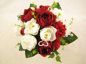 c24db58e2545 Dettagli su Fiore Artificiale Rosso Rosa Color Crema scabbioso Ivy Perla  Matrimonio Bouquet centro- mostra il titolo originale