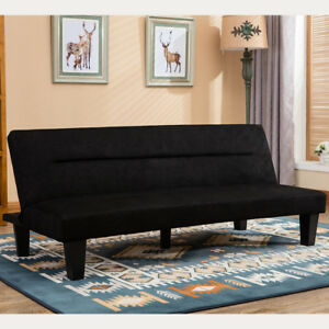 Cool Details About Modern Style Convertible Sofa Bed Futon Couch Sleeper In Black Microfiber W Leg Squirreltailoven Fun Painted Chair Ideas Images Squirreltailovenorg