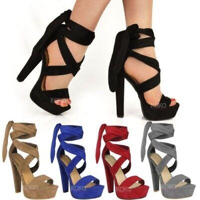 Damen Schnürer Knöchelhoch Absatz Block Plateau Party Offen Schuh Größe | eBay