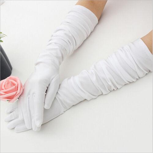Long Satin Gloves Opera Wedding Bridal Evening Party Costume Colorful Gloves  uq