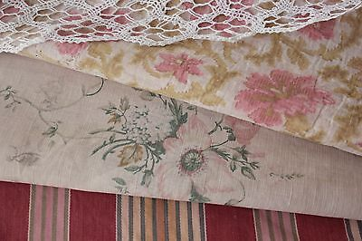 Antique Vintage French ticking + faded floral patchwork etc   PROJECT BUNDLE