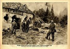 Prof. Max Rabes Deutsche Truppen in einem eroberten französischen Dorf 1914/15