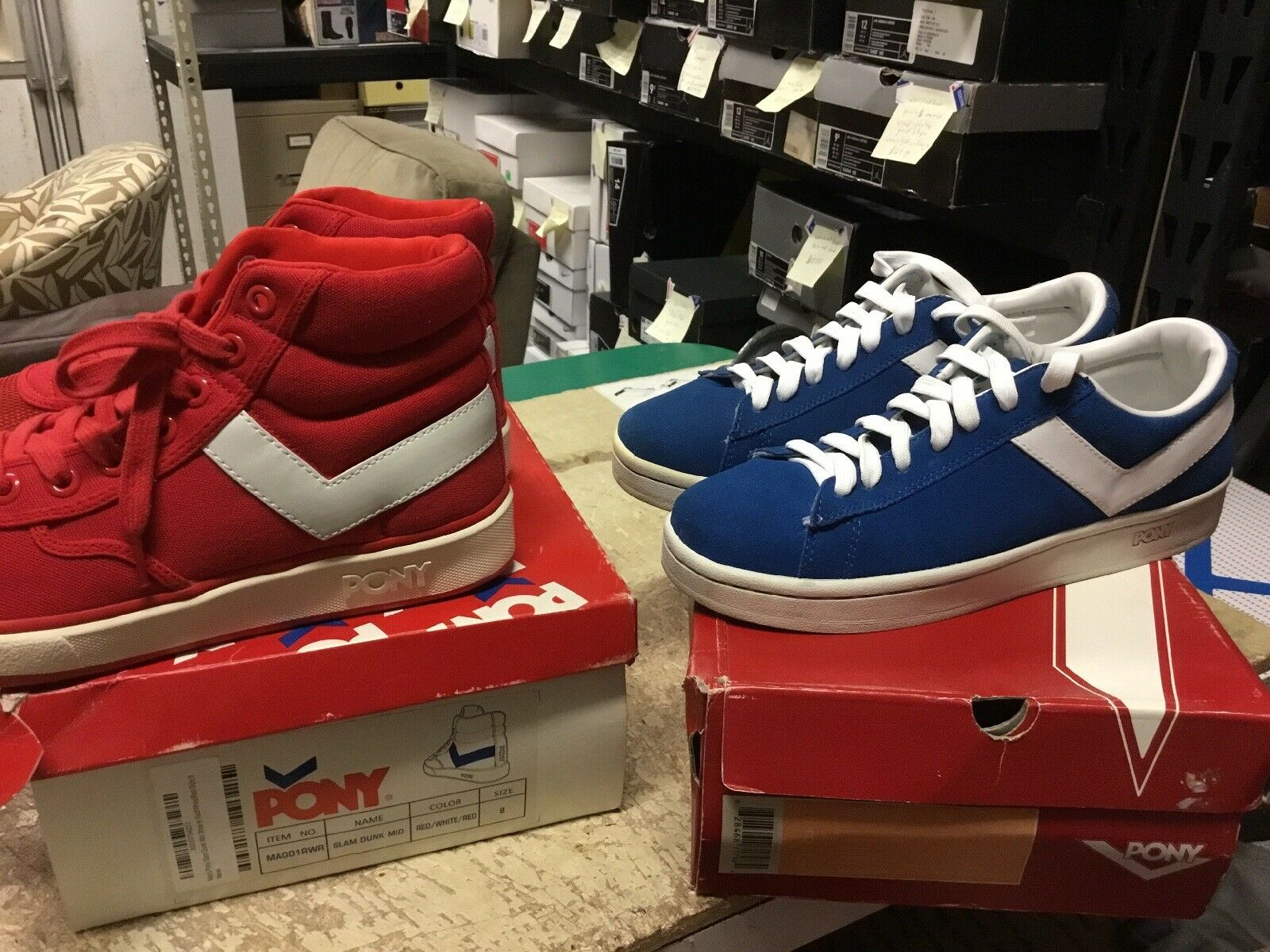 2 Pair Lot Of Pony shoes SLam Dunk MId & Top Star LO Mens US Sz 8 Free Ship Used
