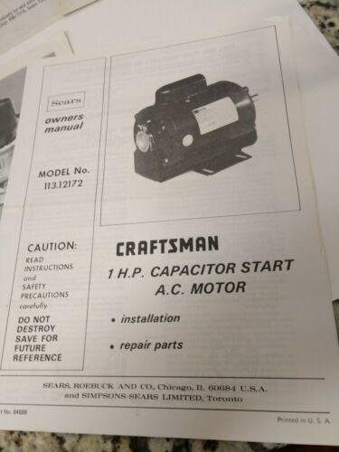 router impact Original Craftsman Instruction//Owners MANUAL:  saw ratchet etc