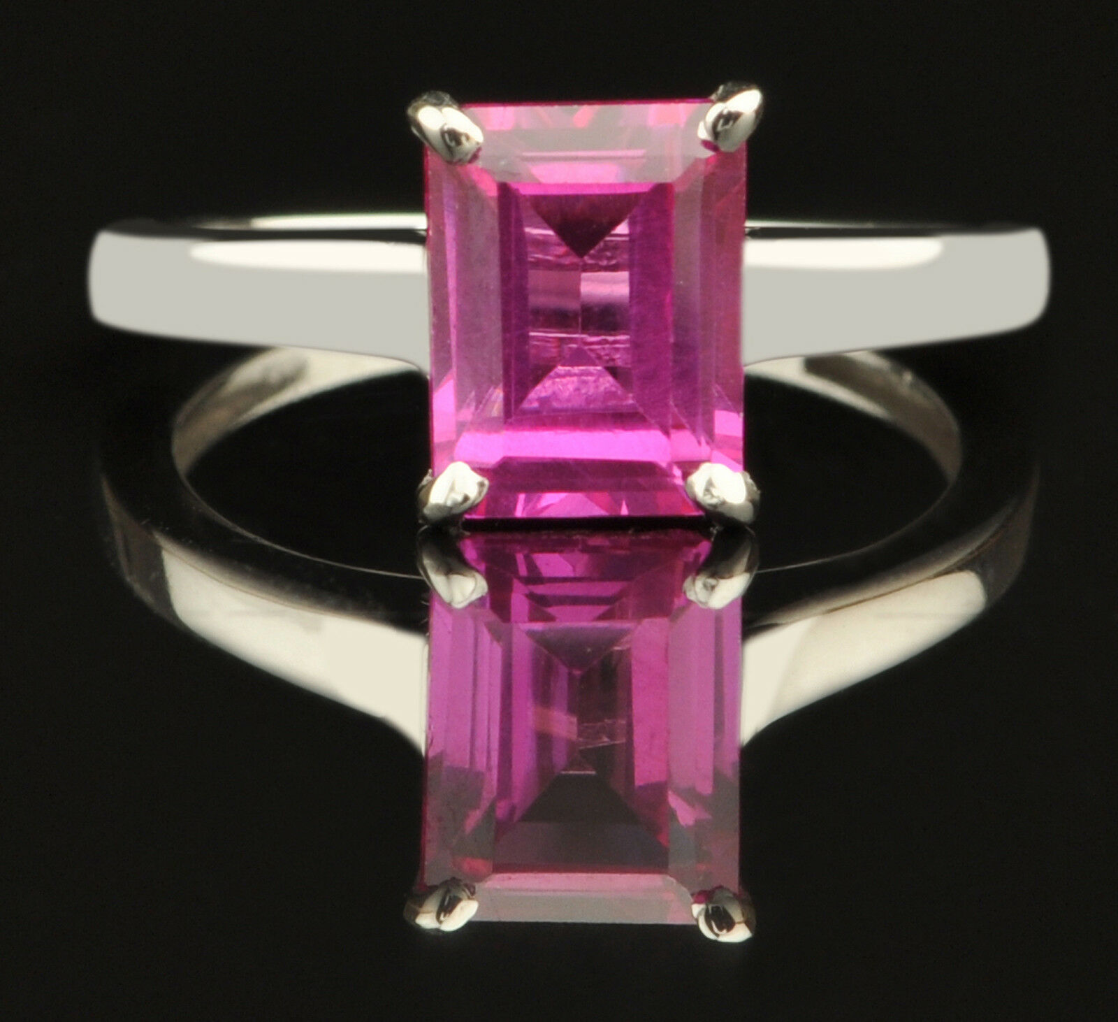 14KT White gold Natural Pink Tourmaline 1.70Ct Rectangle Shape Solitaire Ring
