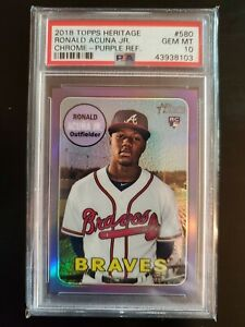 2018 Topps Heritage Chrome Purple Refractor Ronald Acuna Jr RC Rookie PSA 10