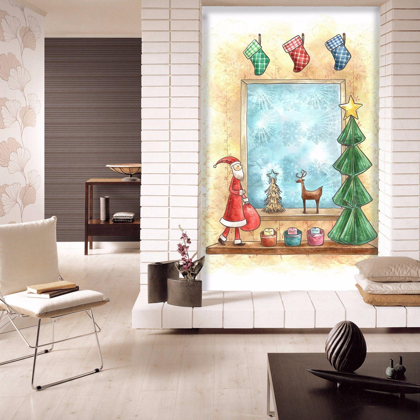 3D Window Santa Claus 73 Wallpaper Mural Paper Wall Print Wallpaper Murals Lemon