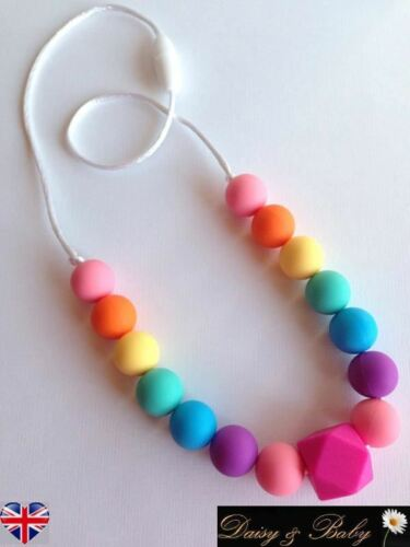 Rainbow beads Teething necklace teether baby wearing autism sensory BPA free UK