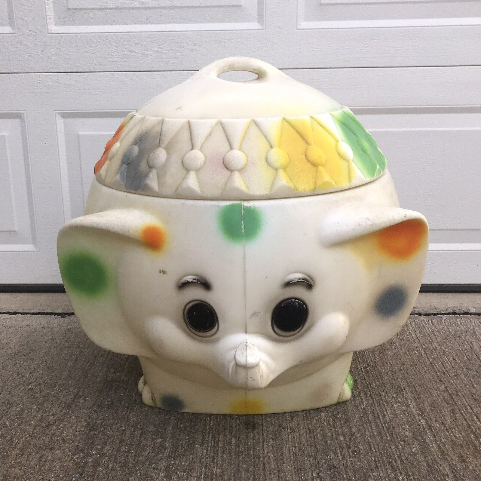 Vintage 1970's Polka Dot Elephant Toy Box Chest Blow Mold Plastic Circus
