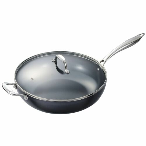 12.5 Inch Kyocera Ceramic Nonstick Wok with Lid