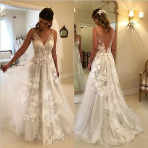 Details about 10D Floral V Neck White/Ivory Wedding Dress A Line Sleeveless  Custom Bridal Gown