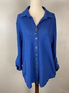 Soft-Surroundings-Blue-Sydney-Shirt-Sz-M-Waffle-Knit-Deco-Art-Buttons-L-S-Top