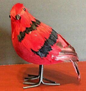 Blooming-Holiday-Large-Red-amp-Black-Cardinal-8-034-High-Decorative-Bird-Christmas