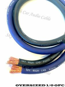 20-ft-OFC-1-0-Gauge-Oversized-10-039-BLUE-amp-10-039-BLACK-Power-Ground-Wire-Sky-High