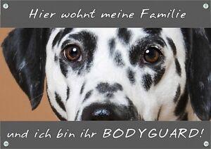 Bouclier de chien - Panneau d'avertissement en métal dalmatien durable et résistant aux intempéries
