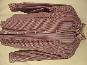 Peter-Millar-Mens-Red-Stripe-Long-Sleeve-Cotton-Shirt-XL