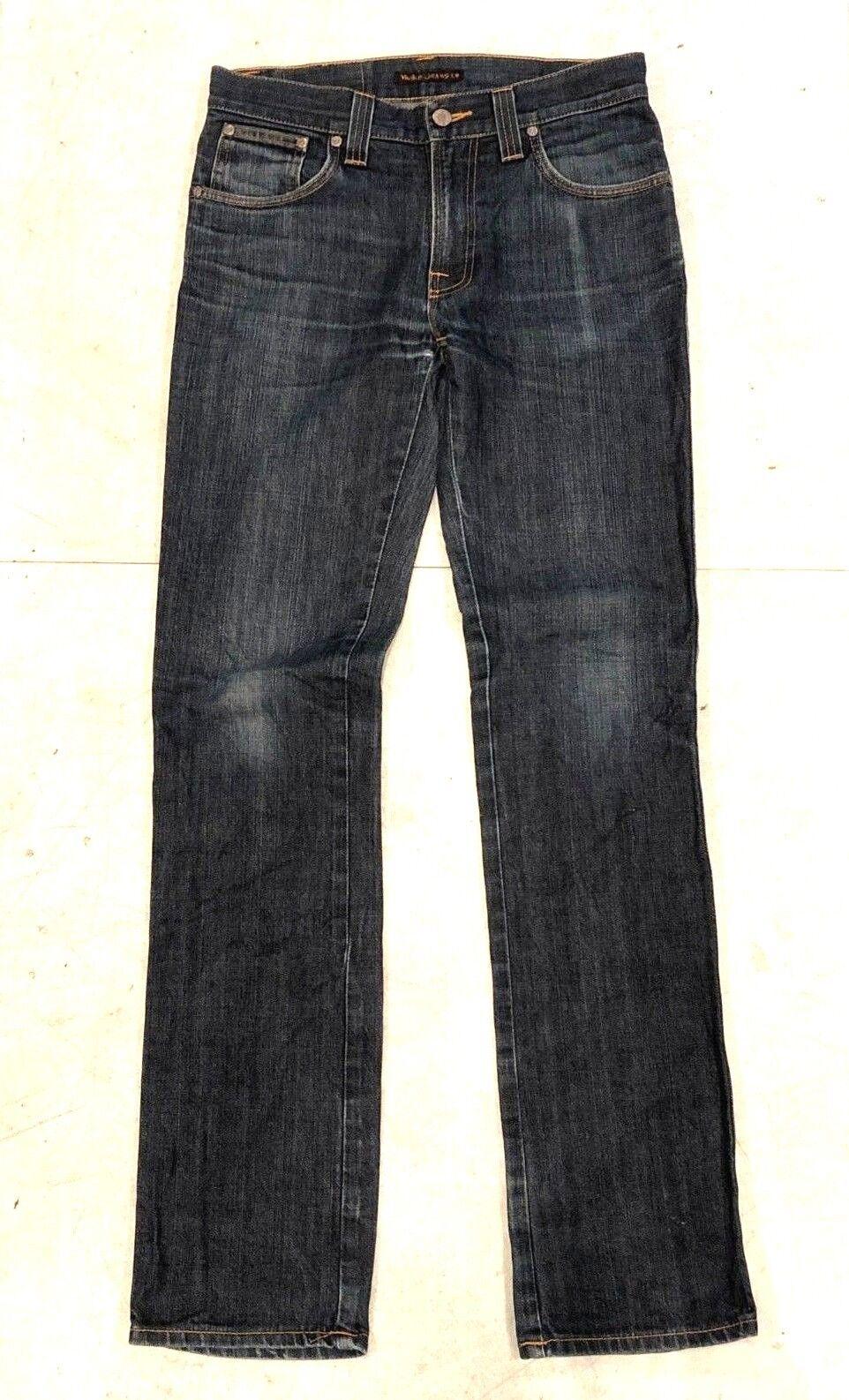 Nudie Low Slim Jim 30 x 34 Zipper Fly Slim Fit Dry Denim Jeans