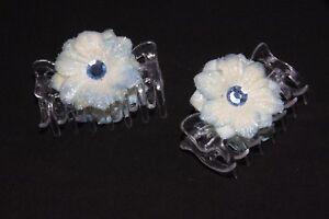 Adroit Bleu Blanc & Paillettes Fleur Forme Aigue-marine Gemme Corps Transparent Pince à Cheveux S240