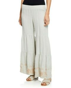 Johnny-Was-Women-039-s-Plus-Sienne-Tier-Linen-Palazzo-Pants-Sand-Embroidery-2X-265