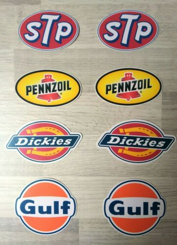 8 STICKERS 70-90 mm GULF STP DICKIES PENNZOIL MOTOR oil Gasoline slot car decal