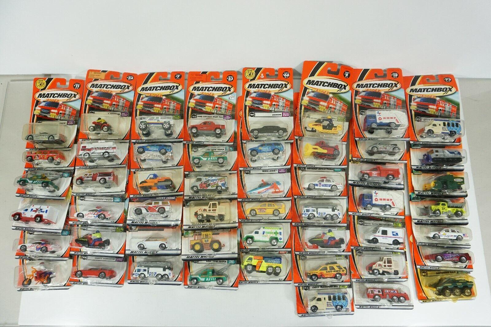 Matchbox Die Cast Huge Lot of 63 Cars - Postal Service Snowmobile TV News Paver