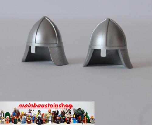 2X Lego® 3844 Ritterhelm mit Nackenschutz Silber Metallic 7946 7094 10193 NEU