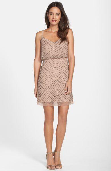 ADRIANNA PAPELL Beaded Sequin Mesh Blouson Sleeveless TankTAUPE Rosa Forml Dress
