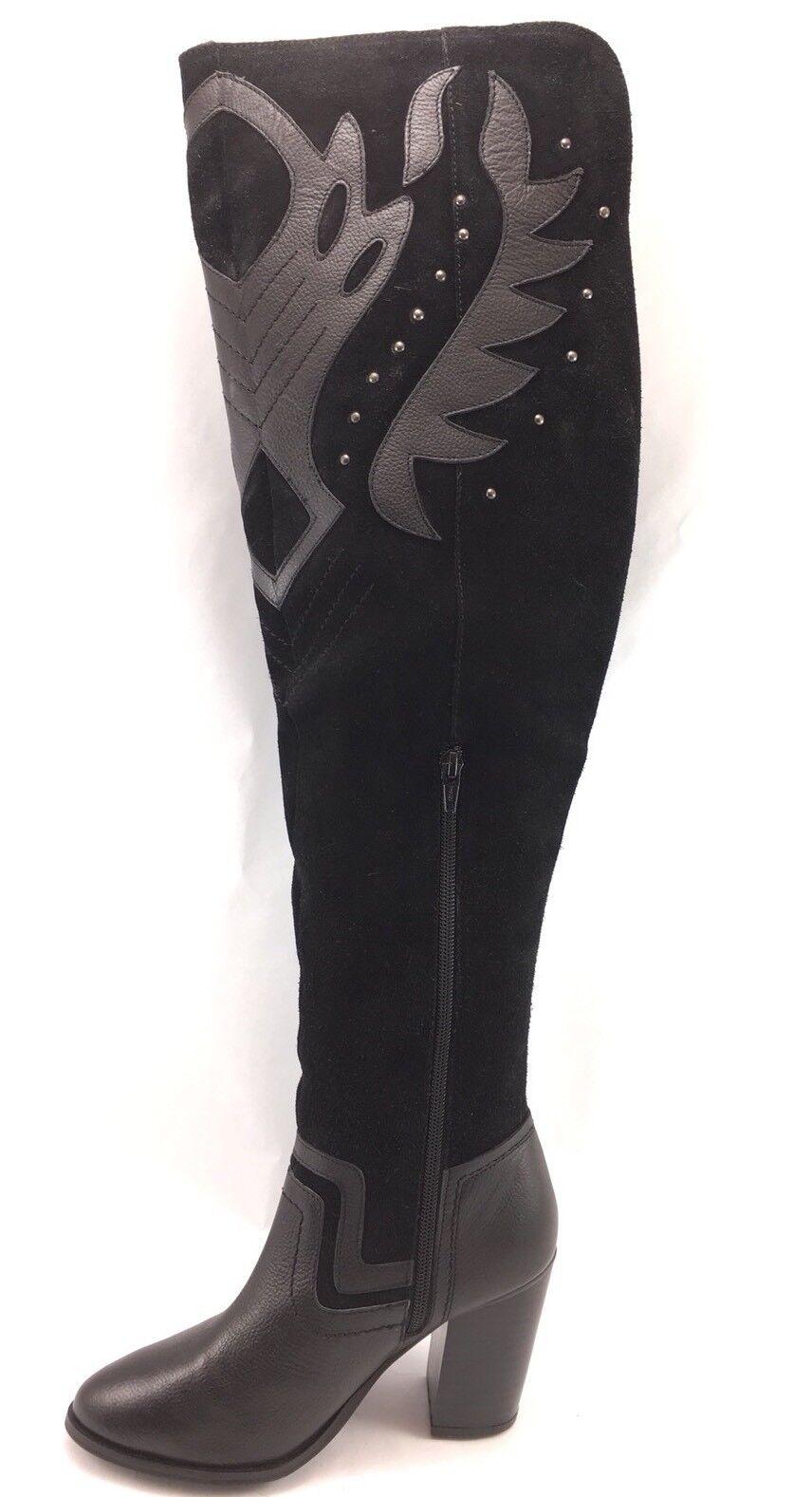 SH25 New Nasty Gal US 6.5 EUR 37 Over Knee Black Suede Leather Boot Block Heels