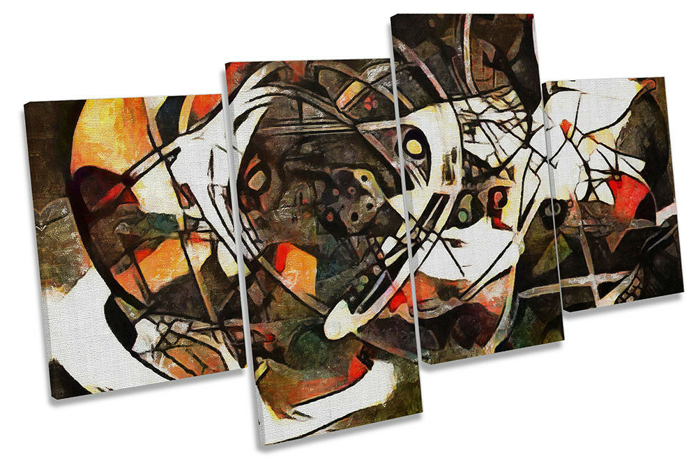 braun Abstract Design Framed MULTI CANVAS PRINT Wall Art