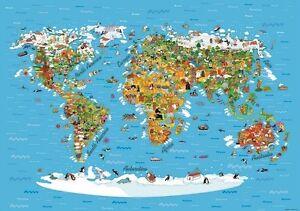 Fun world map for kids photo wallpaper wall mural 360x254cm huge ebay la imagen se est cargando mapa del mundo de diversion para los ninos gumiabroncs Gallery