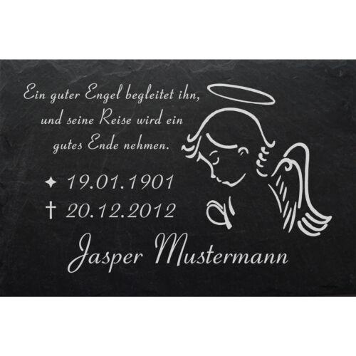 GRAVUR @ 50 x 30 cm Grabstein Schiefer Platte Grab Tafel Engel-001 @ WUNSCH