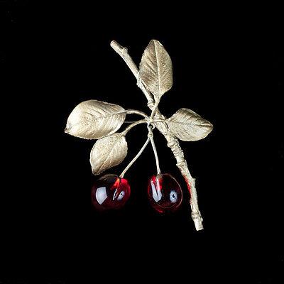 Michael Michaud - Morello Cherry Brooch Pin - Silver Seasons Jewelry - MadeInUSA