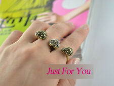 R1152 New Nice Vintage Fashion Rhinestone Love Heart Two Fingers Ring