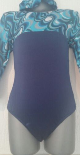 Girls Blue Curl long sleeved leotard dance gymnastics practice disco