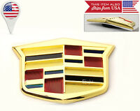 Cadillac Gold Plated Crest Small Emblem For Grill Or Trunk H: 2 / W: 3