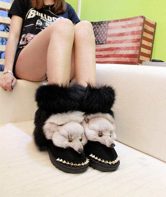 Women Unique Rivet Snow Boots Warm Warm Warm Real Fox Fur Head Flat Heel Winter shoes @BT0 a24c29