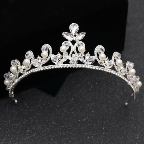 3.5cm High Elegant Pearl Crystal Crown Tiara Wedding Prom Party Pageant