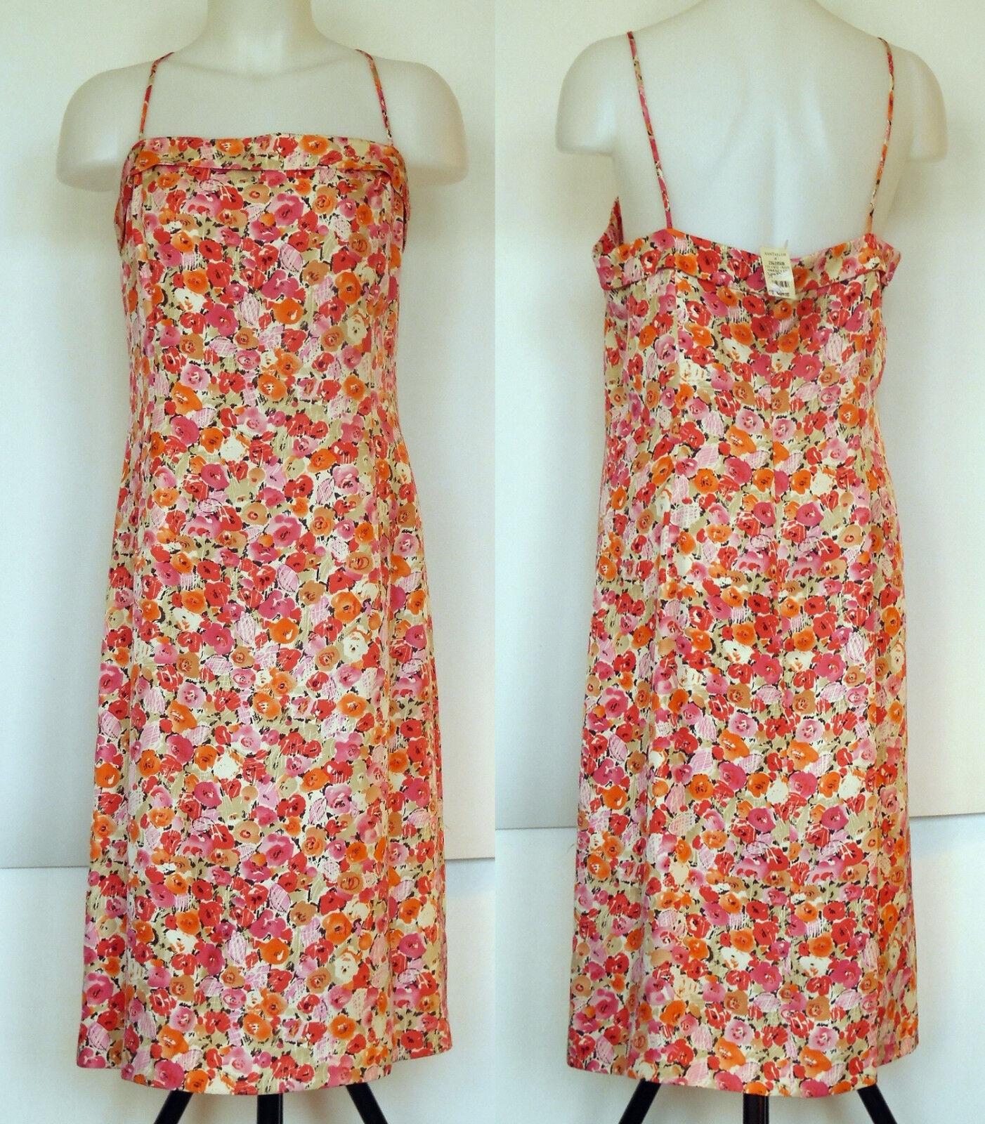 NEW Ann Taylor Pink & Coral Floral Silk Lined Sheath Dress w Spaghetti Straps 12