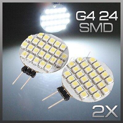 2x G4 24 SMD 1210 LED RV Car Marine Camper Bulb Lamp Light DC 12V Pure White NEW