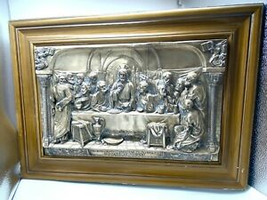 Antique-Religious-Metal-relief-The-LAST-SUPPER-Large-25-x-18-Christian-Jesus