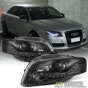 Blk Audi A S B R StyleLED DRL Halogen Type Projector - 2006 audi a4 headlights