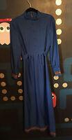 VTG 60s 70s Royal Blue Floral Embroidered Maxi Long Sleeve Dress M L Mod Hippie