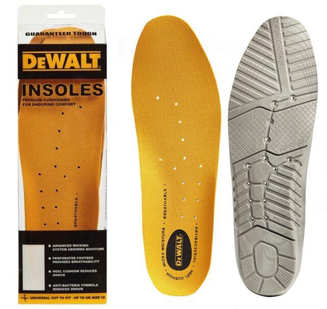 DeWalt yellow comfort universal shoe boot PU replacement insoles 1 pair