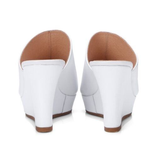 Ladies Mules Shoes Genuine Leather Wedge High Heels Slides Sandals UK Size S364