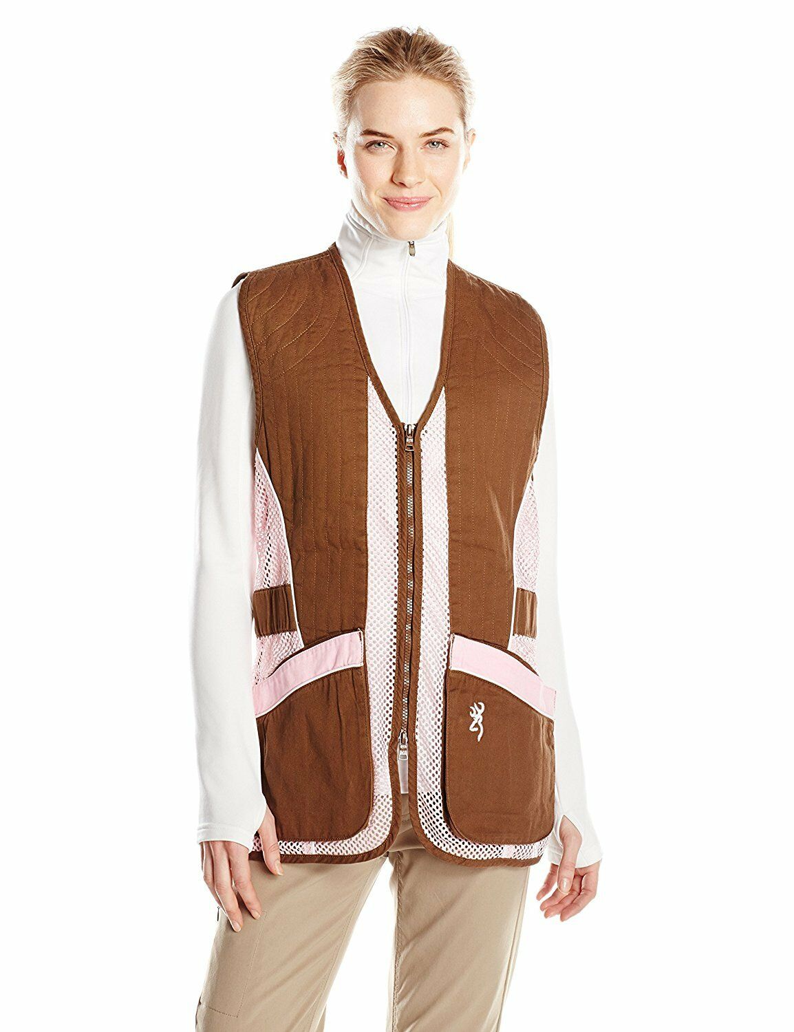 Browning Womens Sporter II Shooting Vest Brown Pink L Skeet Sporting Clay Pigeon